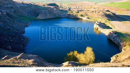Blue lake in the mountain in summer time