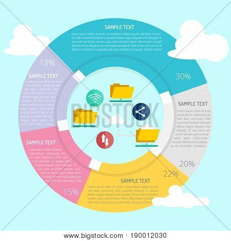File Sharing Infographic | Set of great flat design illustration concepts for business, finance, marketing and much more.