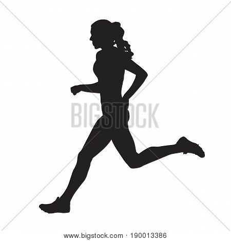 Running woman side view vector silhouette, active teenager