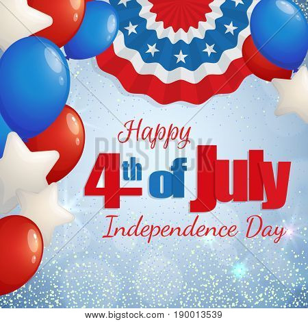 Happy 4th of July, Independence Day greeting card with baloons and paper patriotic bunting. Happy July Fourth. Vector.