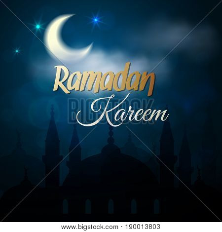 Ramadan Kareem greeting card. Night view of the Islamic mosque. Illustration for muslim holy month Ramadan. Vector