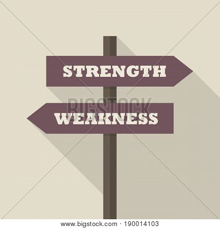 Strength or Weakness directions on a signpost. vector illustration poster
