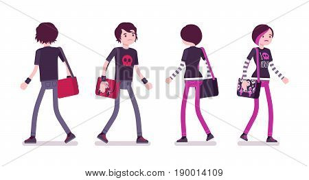 Emo boy and girl, true subculture look, skinny pants, black t-shirt, messenger bag, choppy hairstyle, walking, front and rear view. Vector flat style cartoon illustration, isolated, white background
