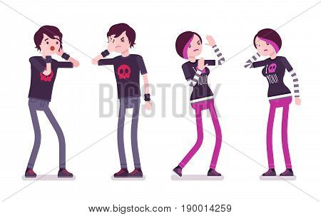 Emo boy and girl, true subculture look, skinny pants, black t-shirt, choppy hairstyle, feeling melancholy, emotional distress. Vector flat style cartoon illustration, isolated, white background