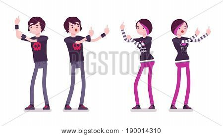 Emo boy and girl, true subculture look, skinny pants, black t-shirt, choppy hairstyle, showing indecent gestures, offensive, vulgar. Vector flat style cartoon illustration, isolated, white background
