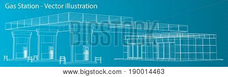 Gas Station. Wire frame vector illustration. 3d rendering