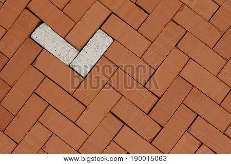 pattern with bricks on a floor ground