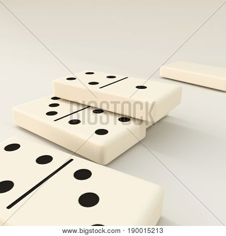 3d illustration of domino pieces isolated on white background