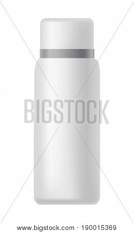 Mat shiny white bottle with silver line around cover isolated vector illustration. Universal plastic container for various substances. Watertight vessel of good quality for drinks and beverages.