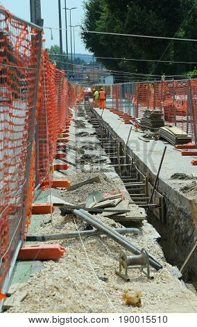 Road Excavation For Laying Fiber Optics