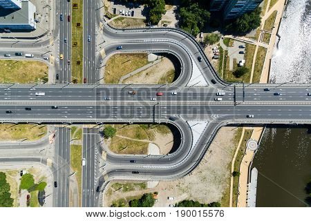Bird-eye view of the crossroads in Kaliningrad Russia