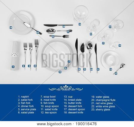 Arrangement of dishware and cutlery on white background. Table setting rules and etiquette