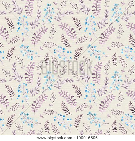 Cute seamless wallpaper with naive flowers and leaves. Watercolor