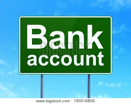 Currency concept: Bank Account on green road highway sign, clear blue sky background, 3D rendering