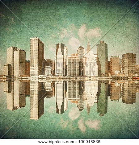 grunge vintage image of new york skyline