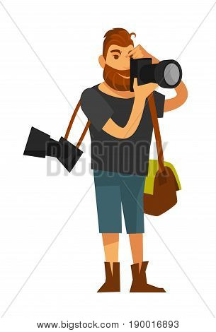 Male person takes photos by camera near eye and holds two special bags on shoulders. Vector colorful illustration in flat design of full length working photographer wearing t-shirt and short jeans