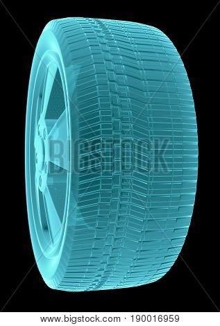 X-Ray Image Of Car Wheel, Isolated on Black Background. 3D Rendering