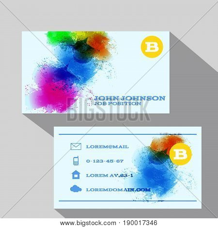 Eps 10 Vector Water Color Corporate Business Card