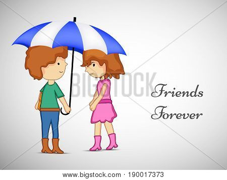 illustration of boy and girl under umbrella with friends forever text