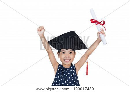 Asian Little Chinese Girl Wearing Graduation Cap And Holding Diploma