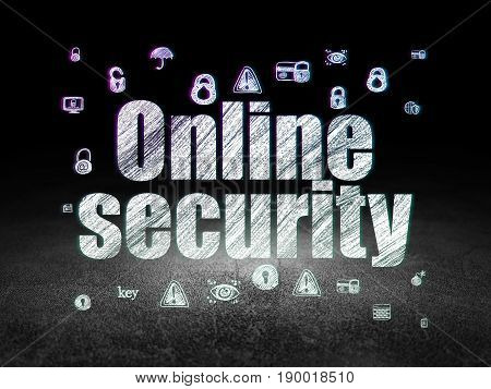 Security concept: Glowing text Online Security,  Hand Drawn Security Icons in grunge dark room with Dirty Floor, black background