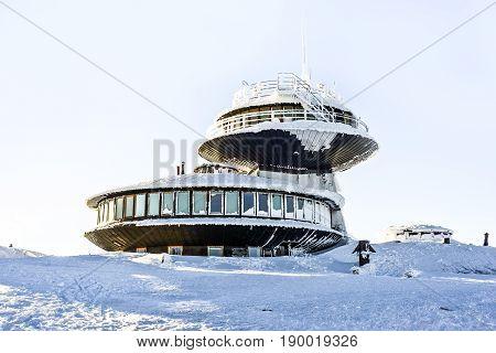Observatory meteorological on Sniezka mountain in Polish mountains Karkonoszewinter time.