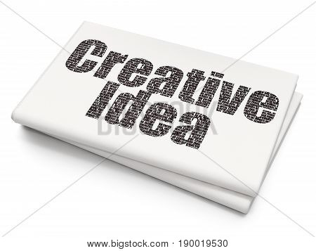 Business concept: Pixelated black text Creative Idea on Blank Newspaper background, 3D rendering
