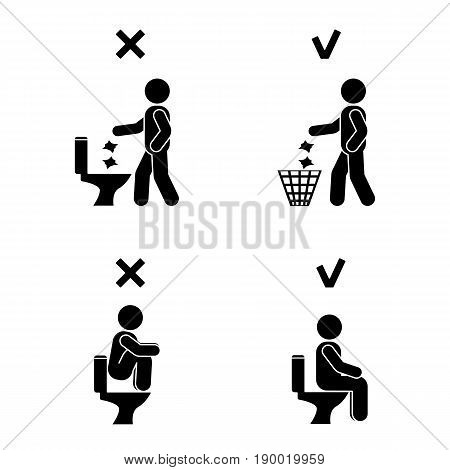 Right and wrong man people position in closet. Posture stick figure. Vector illustration of posing person icon symbol sign pictogram in toilet