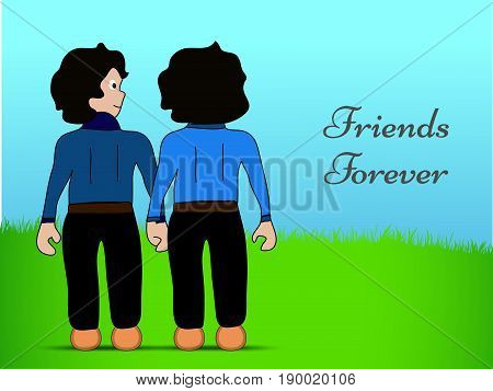 illustration of two men hondind each other hand with Friends Forever text