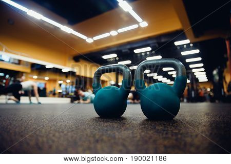 set of weights and a dumbbell for sporting bodybuilding and fitness in the gym. Sports Equipment.high contrast and monochrome color tone.