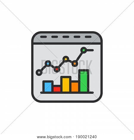 Bar and line combo chart filled outline icon vector sign colorful illustration
