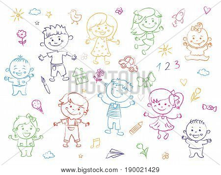 Cheerful children standing together, drawings, paintings. Girls and boys are on the white background in the linear design. Vector illustration