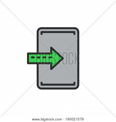Import enter filled outline icon vector sign colorful illustration
