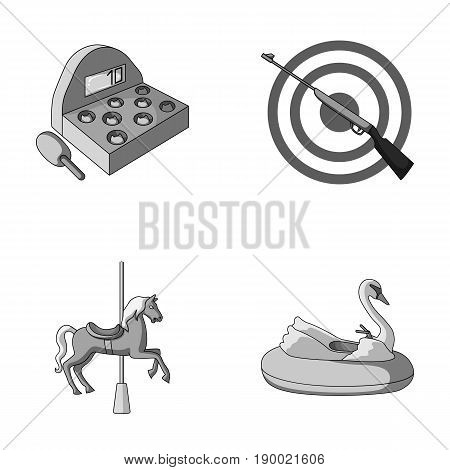 A game with a bat, a target with a gun, a horse on a carousel, a swan attraction. Amusement park set collection icons in monochrome style vector symbol stock illustration .