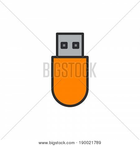 Usb stick filled outline icon vector sign colorful illustration