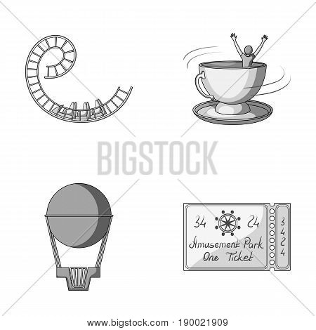 Roller coaster ride, balloon with basket, caruelle cup, ticket to the entrance to the park. Amusement park set collection icons in monochrome style vector symbol stock illustration .