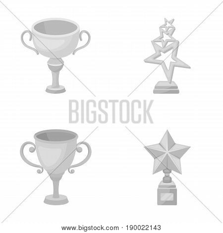 Silver cup for the second place, gold stars on the stand, a cup with a star, a gold cup.Awards and trophies set collection icons in monochrome style vector symbol stock illustration .