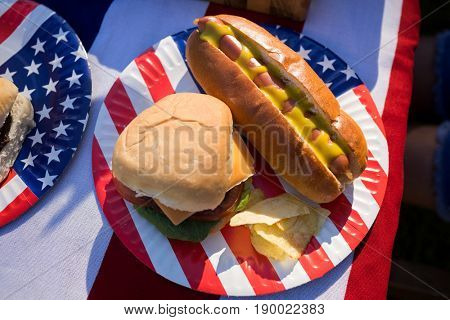 Close-up of hot dog, hamburger and crisps served in the plate