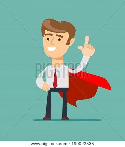 Super Businessman. Business concept . Stock vector illustration for poster, greeting card, website, ad, business presentation, advertisement design