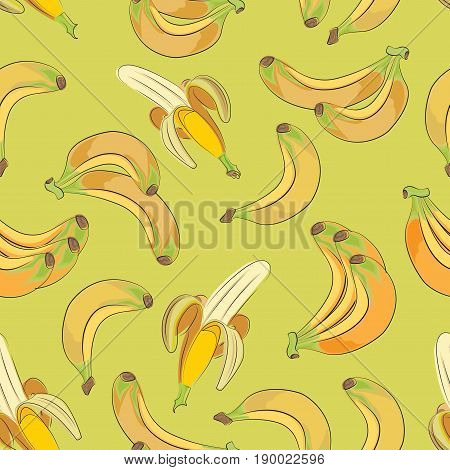 Ripe bananas. Tropical berries. Seamless vector pattern on green-yellow background. An exotic fruit. Design for printing on fabric or paper, tapestries, packaging materials.