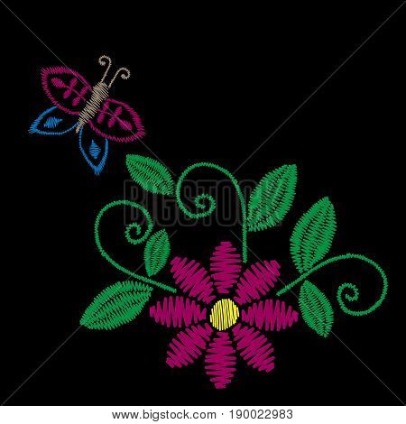 Colorful embroidery stitches imitation folk flower with butterfly and green leaf. Floral embroidery pattern on the black background. Vector embroidery template for printing on fabric napkin and other design.