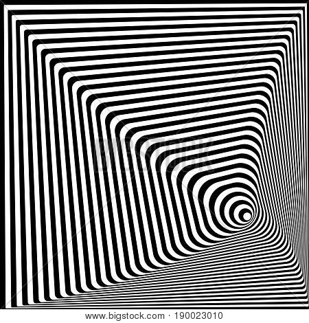 Abstract twisted black and white optical illusion, striped background. Optical Art. 3d vector illustration. Template for ad, covers, posters, banners and other.