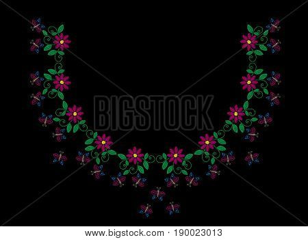 Embroidery stitches imitation fashion frame with folk flower butterfly and leaf. Floral wreath on black background. Embroidery flower vector.