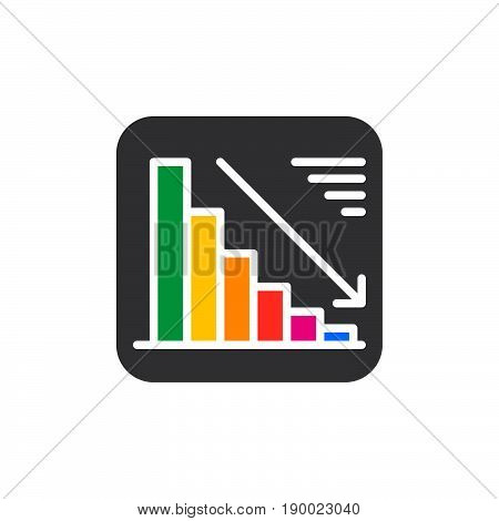 Chart goes down colorful icon vector flat sign. Negative dynamic symbol logo illustration