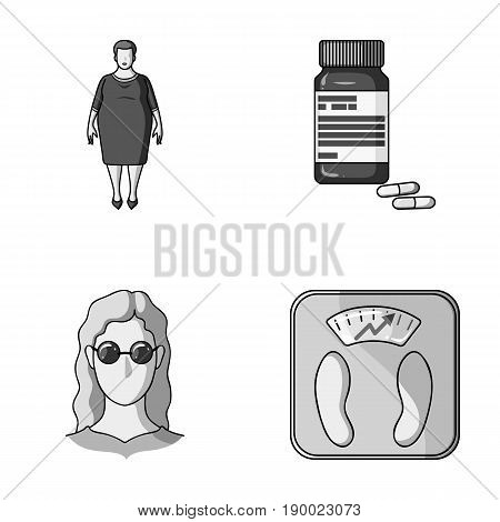 Full woman, a girl with glasses, a scales with exquisite result. Diabeth set collection icons in monochrome style vector symbol stock illustration .