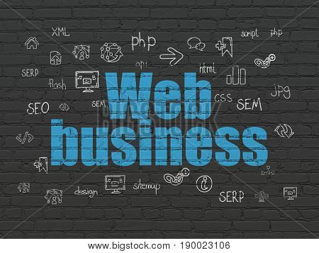 Web development concept: Painted blue text Web Business on Black Brick wall background with  Hand Drawn Site Development Icons