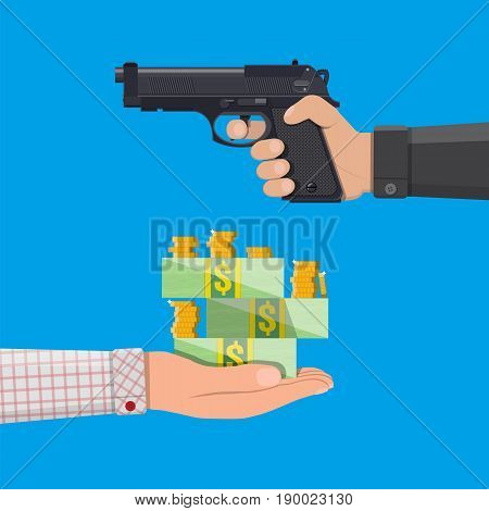 Hand of thief holding pistol and hand with money. Robbery concept. Vector illustration in flat style