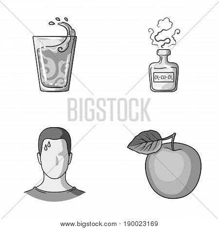 A glass of water, a bottle of alcohol, a sweating man, an apple. Diabeth set collection icons in monochrome style vector symbol stock illustration .
