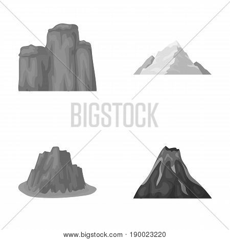 Sheer cliffs, a volcanic eruption, a mountain with a beach, a glacier. Different mountains set collection icons in monochrome style vector symbol stock illustration .
