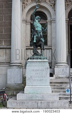 Centaur sculpture before the entrance of the Academy of Fine Arts in Vienna